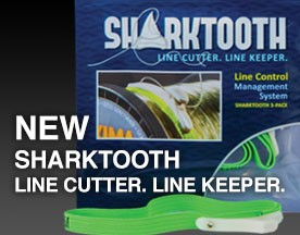 SharkTooth Line Management System keeps all your line spools organized and accessible with a stainless steel razor cutter and cuts both monofilament and fluorocarbon up to 50 lbs.